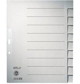 LEITZ Register, Tauenpap.(RC), 100g/m², blanko, A4, vo.Höhe, ü, 10Bl., grau