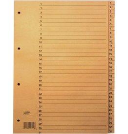 STAPLES Register, Tauenpap.(RC), 1-31, Standardloch., A4, vo.Höhe, 31Bl., cham