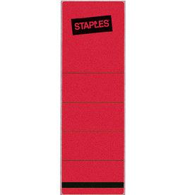 STAPLES Rückenschild, selbstklebend, Papier, breit / kurz, 62x190mm, rot