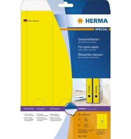 HERMA Rückenschild, sk, breit / lang, 61 x 297 mm, gelb