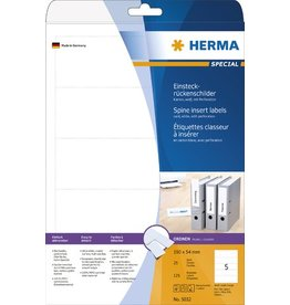 HERMA Rückenschild, zum Einstecken, Karton, breit / kurz, 54 x 190 mm, weiß