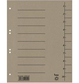 bene Trennblatt, Karton (RC), 250 g/m², 1-10, A4, grau