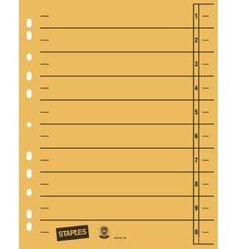 STAPLES Trennblatt, Kraftkarton (RC), 1-10, Eurolochung, A4, gelb