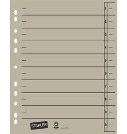 STAPLES Trennblatt, Kraftkarton (RC), 1-10, Eurolochung, A4, grau