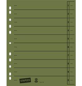 STAPLES Trennblatt, Kraftkarton (RC), 1-10, Eurolochung, A4, grün