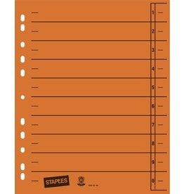 STAPLES Trennblatt, Kraftkarton (RC), 1-10, Eurolochung, A4, orange