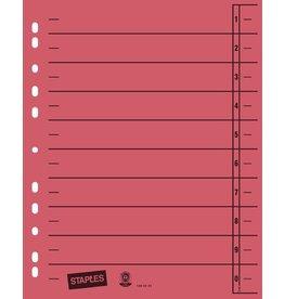 STAPLES Trennblatt, Kraftkarton (RC), 1-10, Eurolochung, A4, rot