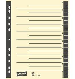 STAPLES Trennblatt, Kraftkarton (RC), 230 g/m², 1 - 10, A4, chamois/anthrazit