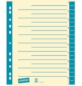 STAPLES Trennblatt, Kraftkarton (RC), 230 g/m², 1 - 10, A4, chamois/blau