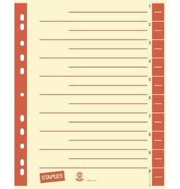 STAPLES Trennblatt, Kraftkarton (RC), 230 g/m², 1 - 10, A4, chamois/rot