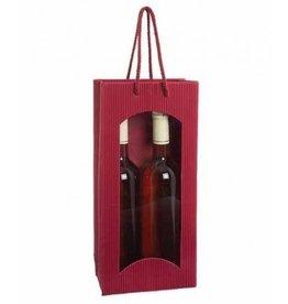 Karl Knauer Geschenktasche, für 2 Flaschen, Wellpappe, 17 x 8,3 x 36 cm, bordeaux