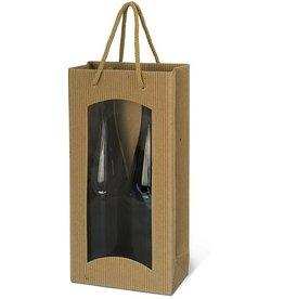 Karl Knauer Geschenktasche, für 2 Flaschen, Wellpappe, 17 x 8,3 x 36 cm, natur