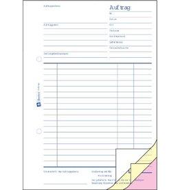 AVERY Zweckform Auftrag, Buch, A5h, 3f., sd, 1./2./3.Bl.bedr., Einband: blau, 3x40Bl.