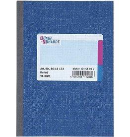K&E Geschäftsbuch, Glanzkarton, liniert, A6, Einband: blau, 96Bl.