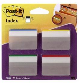 Post-it Haftmarker Index STRONG, gebogen, 50,8x38mm, 4farb. sort., 6Bl.