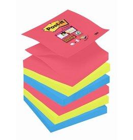 Post-it Haftnotiz Super Sticky Z-Notes, 76 x 76 mm, 3farbig sortiert, 90 Blatt