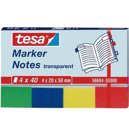 tesa Haftnotiz Transparentmarker, 20x50mm, 4farb. sort., 4x40 Bl.