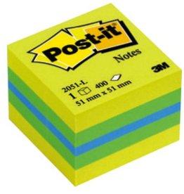 Post-it Haftnotizwürfel Mini, lemon/mint, 51 x 51 mm, 3farbig sortiert, 400Bl.