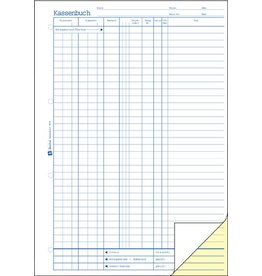 AVERY Zweckform Kassenbuch, A4h, 2f., sd, 1./2.Bl.bedr., Einband: blau, 2x40Bl.