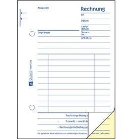AVERY Zweckform Rechnung, Kart., A6h, sd, 1./2.Bl.bedr., Einband: blau, 2x40Bl.