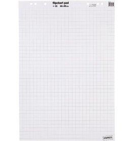 STAPLES Flipchartblock, kariert/blanko, 68x99cm, 80g/m², hf, weiß, 20 Blatt