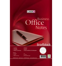 LANDRÉ Briefblock Office, kariert, 2f.Loch., A4, 70g/m², hf, 50 Blatt