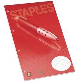 STAPLES Briefblock, kariert, 4fach Lochung, A4, 70g/m², hf, weiß, 100Bl.