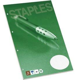 STAPLES Briefblock, kariert, 4fach Lochung, A4, 70g/m², RC, weiß, 50Bl.