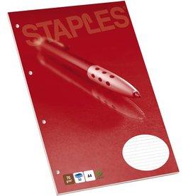 STAPLES Briefblock, liniert, 4fach Lochung, A4, 70g/m², hf, weiß, 50Bl.