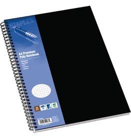 STAPLES Collegeblock Poly, PP, kariert, A4, Einband: schwarz, 80 Blatt