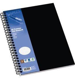 STAPLES Collegeblock Poly, PP, kariert, A5, Einband: schwarz, 80 Blatt