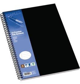 STAPLES Collegeblock Poly, PP, liniert, A4, Einband: schwarz, 80 Blatt