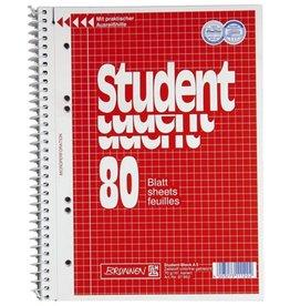 BRUNNEN Collegeblock Student, kariert, A5, CF, Einband: rot, 80 Blatt