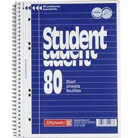 BRUNNEN Collegeblock Student, lin.20Lin., A5, CF, Einband: blau, 80 Blatt