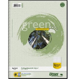 Ursus Green Collegeblock, kariert 5 mm, A4, 60 g/m², RC, weiß, 80 Blatt