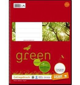 Ursus Green Collegeblock, kariert mit Rand, A4, 70 g/m², weiß, 80 Blatt