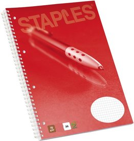 STAPLES Collegeblock, kariert, 4fach Lochung, A4, 70g/m², hf, weiß, 160Bl.