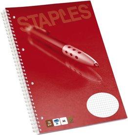 STAPLES Collegeblock, kariert, 4fach Lochung, A4, 70g/m², hf, weiß, 80Bl.