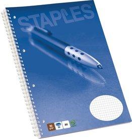 STAPLES Collegeblock, kariert, 4fach Lochung, A4, 80g/m², hf, weiß, 80Bl.