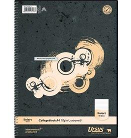 Ursus Collegeblock, kariert, A4, 70 g/m², ECF, weiß, 80 Blatt