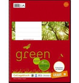 Ursus Green Collegeblock, liniert mit Rahmen, 1/3 A4, 70 g/m², weiß, 80 Blatt
