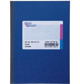 K&E Geschäftsbuch, Glanzkarton, liniert, A6, Einband: blau, 48Bl.