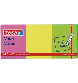 tesa Haftnotiz Neon Notes, 50x40mm, pink/gelb/grün, 80 Blatt [4st]