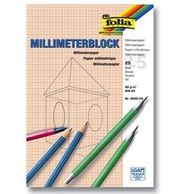 folia Millimeterblock, A4, 80 g/m², weiß, 25 Blatt