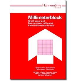 Hahnemühle Millimeterblock, A4, 80/85 g/m², weiß, opak, Druckf.: rot, 50 Blatt
