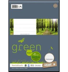 Ursus Green Notizblock, kariert, 1/3 A4, 70 g/m², 48 Blatt