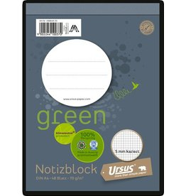 Ursus Green Notizblock, kariert, A6, 70 g/m², 48 Blatt