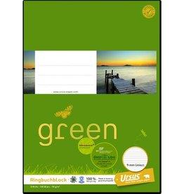 Ursus Green Notizblock, liniert 9 mm, 4fach Lochung, 1/3 A4, 70 g/m², 100 Blatt