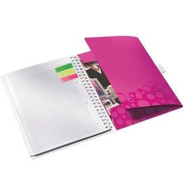 LEITZ Notizbuch WOW Be mobile, kariert, A4, Einband: pinkmetallic, 80 Blatt