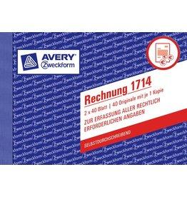 AVERY Zweckform Rechnung, A6 quer, 2f., sd, 1./2.Bl.bedr., Pap., we/gb, 2x40Bl.
